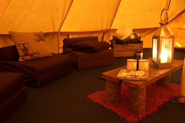Inside a bell tent at one of The Secret Campsites
