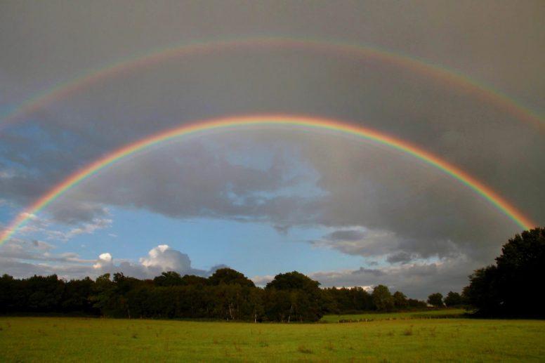 A rainbow at The Secret Campsite Wild Boar Wood