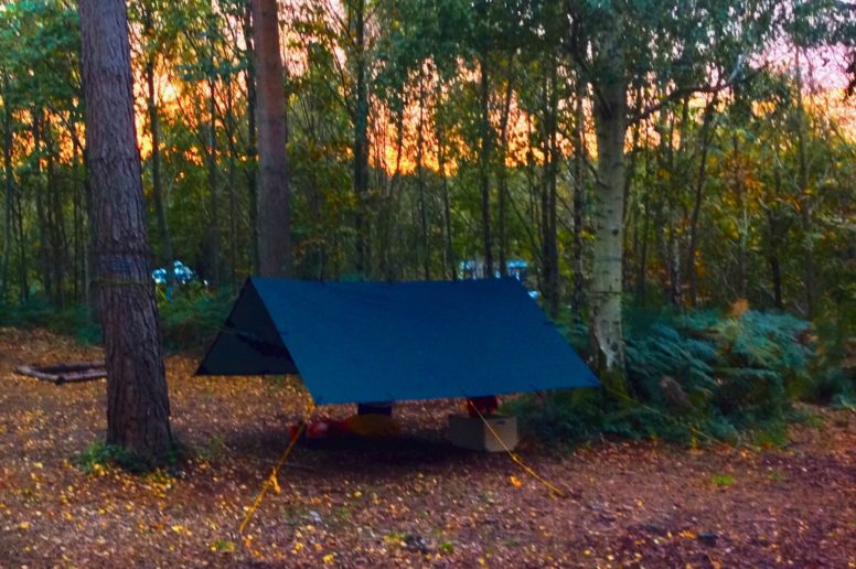 Wild camping with a hammock and tarp at The Secret Campsite