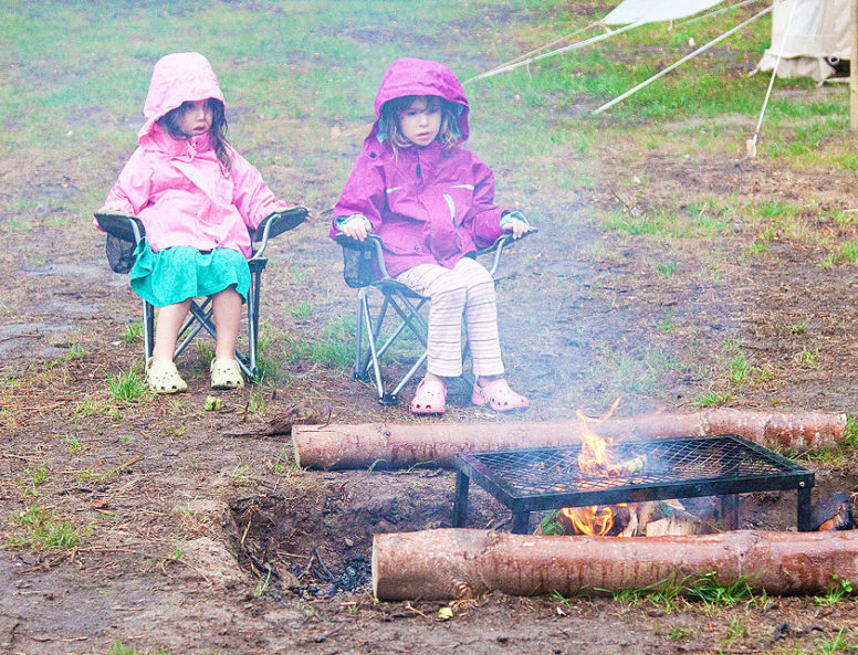 Camping in the rain with campfires
