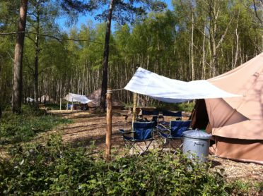 Group glamping at Beech Estate campsite