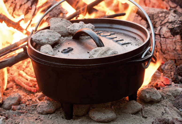 A Dutch oven on the fire - Easter camping does not mean you have to miss out a traditional roast dinner