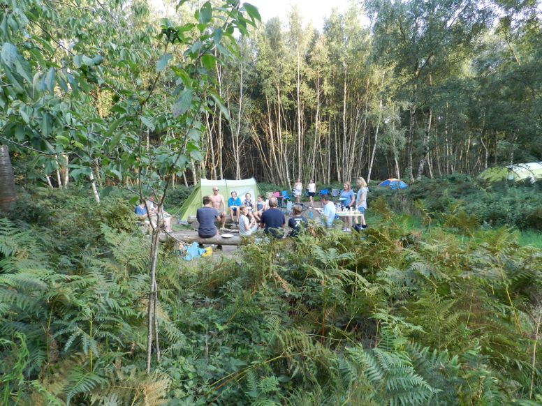A group of campers sitting together outside tents at Beech Estate - Eater camping is great for family get togethers