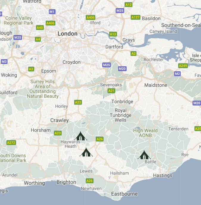 Map of our campsites for dark sky camping