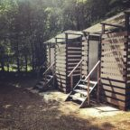 Eco toilets at off grid campsite in Sussex