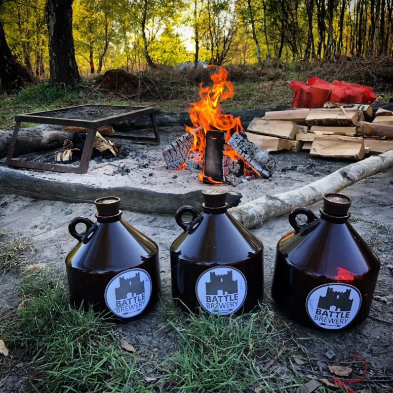 Battle Brewery beer at the campsite in Sussex