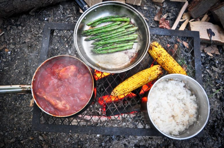 Cooking on first family camping trip