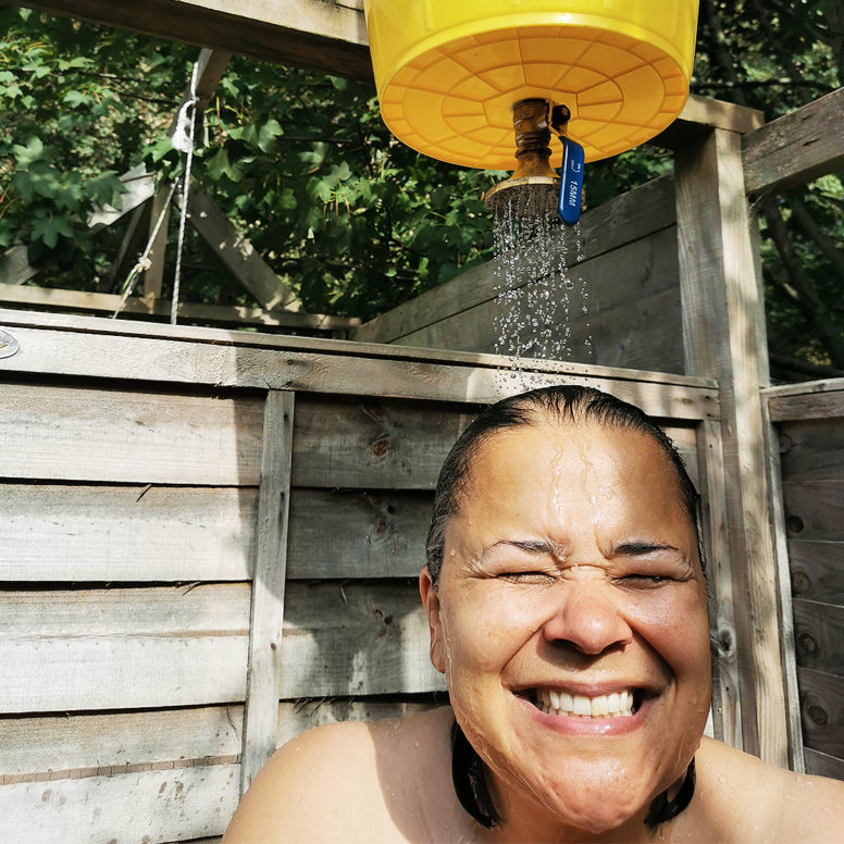 Bucket showers - eco camping in Sussex