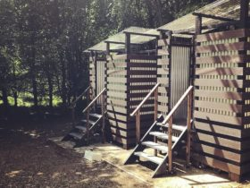 New compost toilets at Beech Estate Campsite