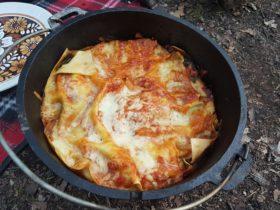 Vegetarian Campfire dutch oven lasagna