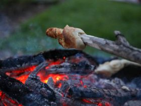 Campfire snacks, bread on a sticl
