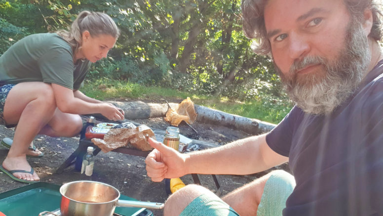 Camping and glamping for couples - campfire cooking