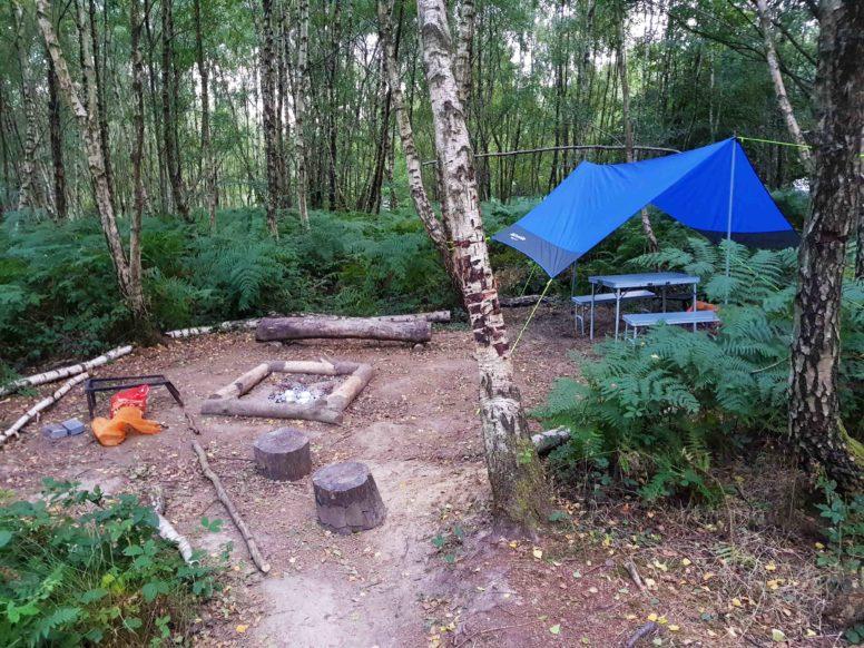 Camp set up for rainy days
