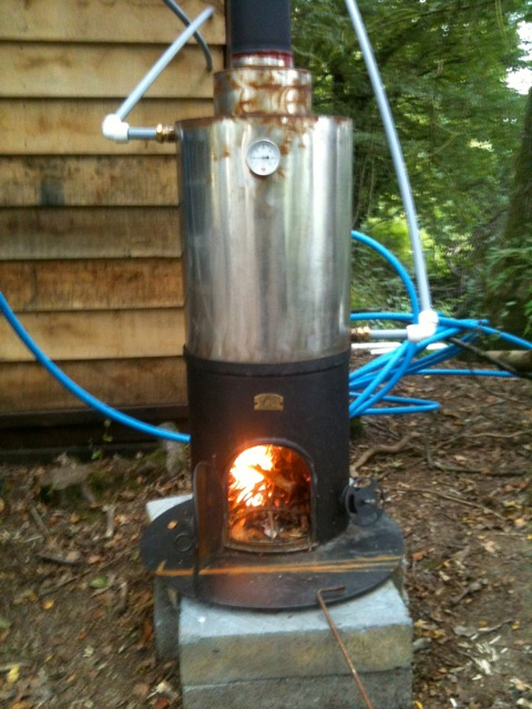 wood-fired shower system