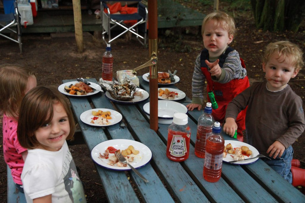 Cheesy potatoes go down well with some of our younger campers