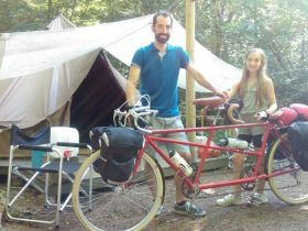 cyclists at the campsite in Sussex