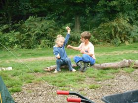 Children real camping at Beech Estate campsite
