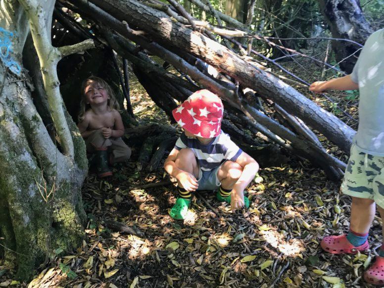 Building dens at Wild Boar Wood Campsite