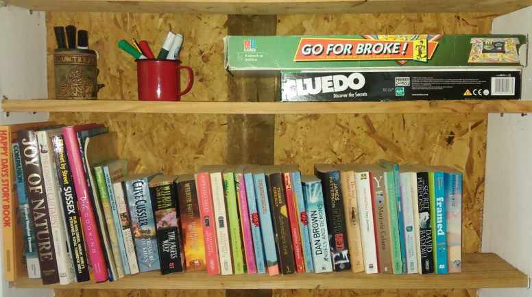 The campsite library at The Secret Campsite at Wild Boar Wood