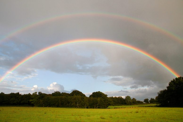 A rainbow over The Secret Campsite at Wild Boar Wood photographed while camping in the rain!