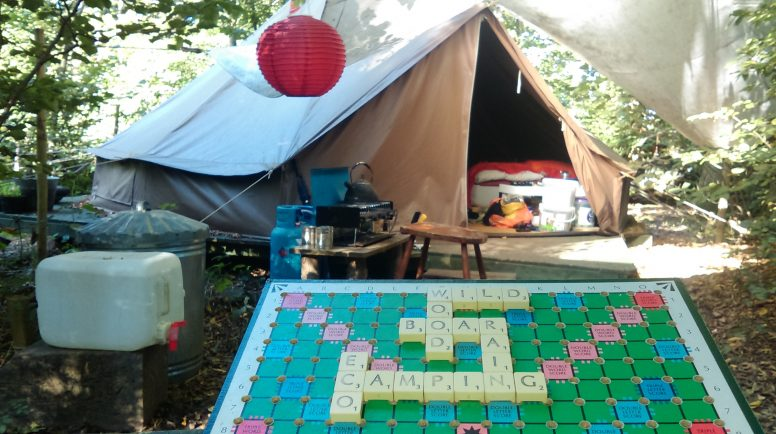 A scrabble board at the campsite for when you're camping in the rain
