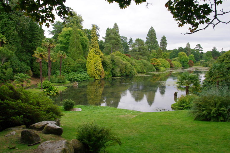 A lake surrounded by trees at the family-friendly attraction of Sheffield Park near The Secret Campsite Wild Boar Wood