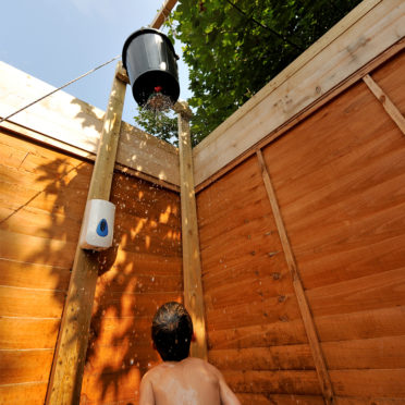 Outdoor bucket shower at our Sussex Campsite