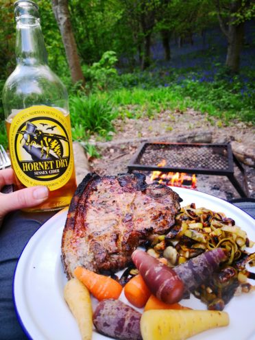 Glamping for one night campfire food