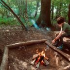 Family camping at Wild Boar Wood campsite in Sussex
