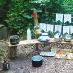 mud kitchen at Wild Boar Wood campsite in Sussex