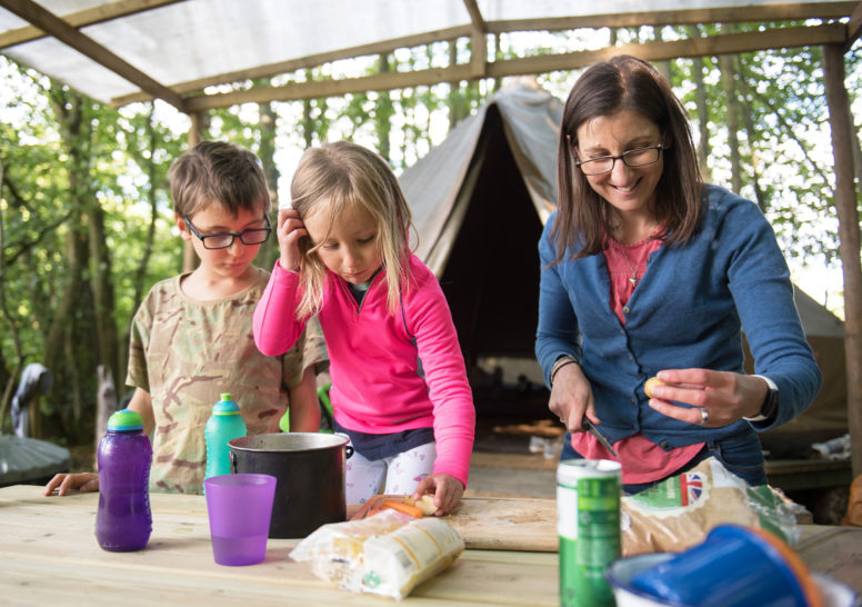 Family Glamping in Sussex, at Wild Boar Wood Campsite