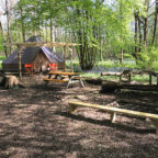 Bell tent glamping at Sussex Campsite