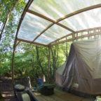 Bell tent in woodland campsite in Sussex