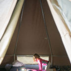 Family glamping at Wild Boar Wood campsite in Sussex