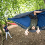 Family in hammock at Sussex glamping site