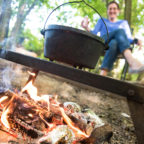 Dutch oven on the campfire at glamping site in Sussex, Wild Boar Wood