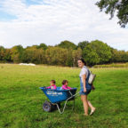 Family entering the glamping site in Sussex