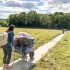Family entering the Sussex glampsite